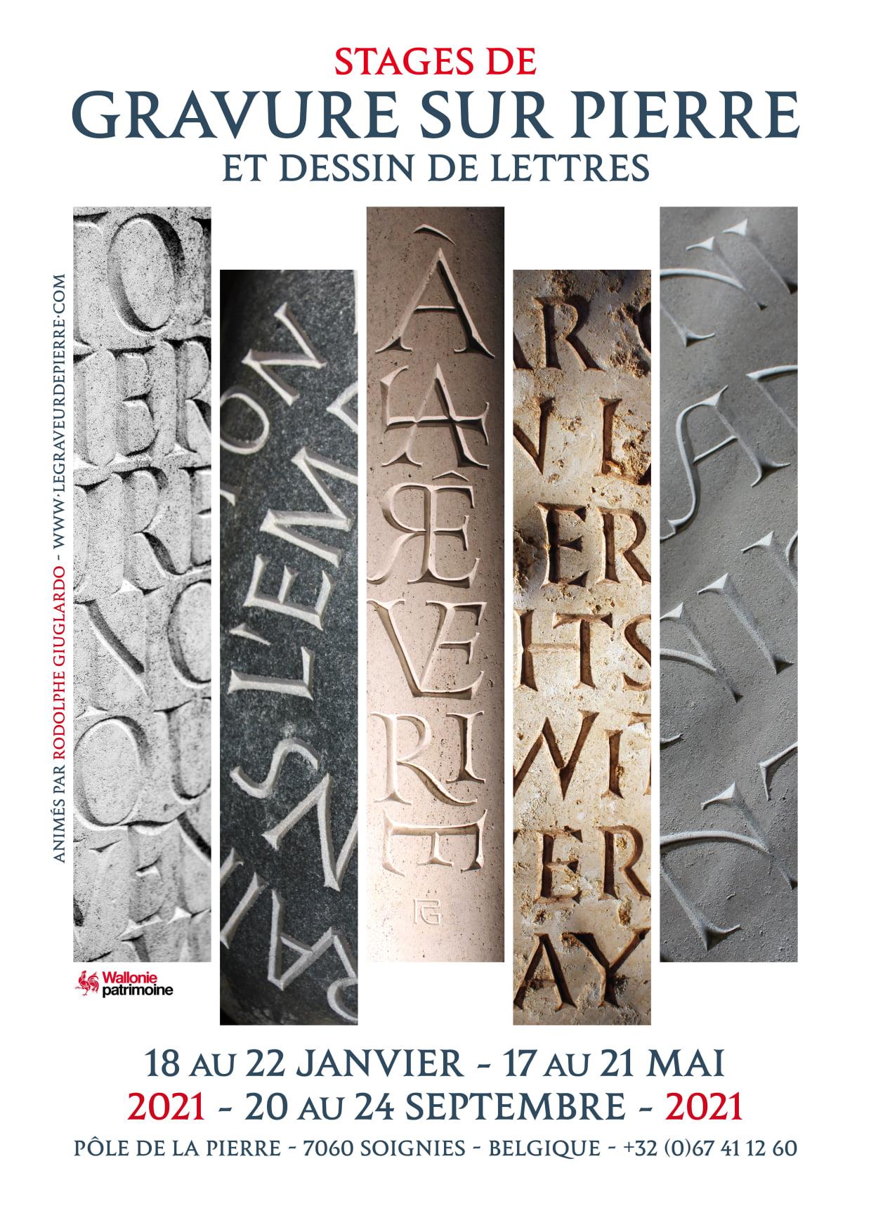 Gravure sur pierre et dessin de lettres